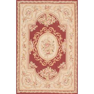 ecarpetgallery Handmade French Tapestry Beige and Red Wool Sumak Rug (6' x 9')
