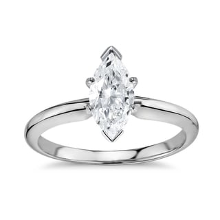 14k Gold 1ct TDW GIA Certified Diamond Marquise Engagement Ring