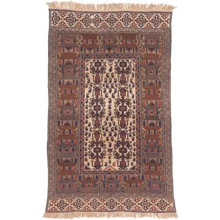 ecarpetgallery Handmade Shirvan Beige and Brown Wool Sumak Rug (5'10 x 9'1)