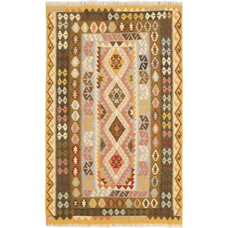 ecarpetgallery Handmade Anatolian Brown and Yellow Wool Kilim Rug (5'5 x 8'8)