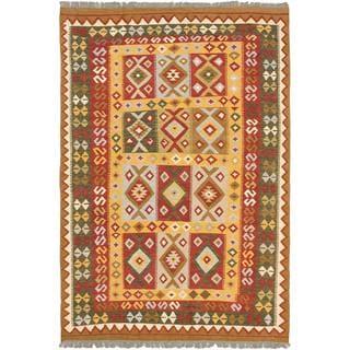 ecarpetgallery Handmade Hereke Red and Yellow Wool Kilim Rug (5'9 x 8'5)