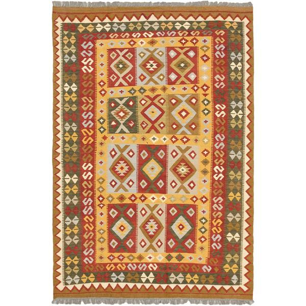 ecarpetgallery Handmade Hereke Red and Yellow Wool Kilim Rug