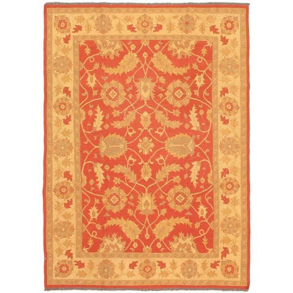 ecarpetgallery Handmade Chobi Brown and Yellow Wool Sumak Rug (6'9 x 9'3)