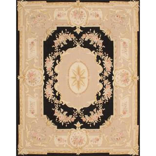 Hand Woven French Tapestry Black, Ivory Wool Tapestry Kilim - 8'0 x 10'0