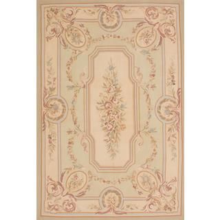 ecarpetgallery Handmade French Tapestry Beige and Green Wool Sumak Rug (6' x 9')