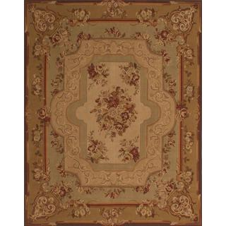 ecarpetgallery Handmade French Tapestry Brown Wool Sumak Rug (7'8 x 9'9)