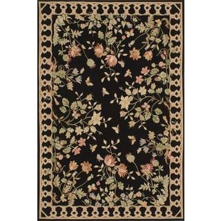 ecarpetgallery Handmade French Tapestry Black Wool Sumak Rug (6' x 9')
