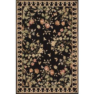 ecarpetgallery Handmade French Tapestry Black Wool Sumak Rug