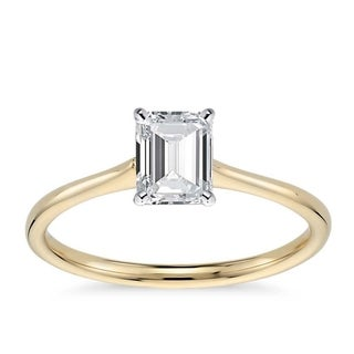 14k Gold 1 1/10ct TDW GIA Certified Diamond Emerald-Cut Engagement Ring