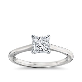 14k Gold 1 1/2ct TDW GIA Certified Diamond Princess Engagement Ring - White