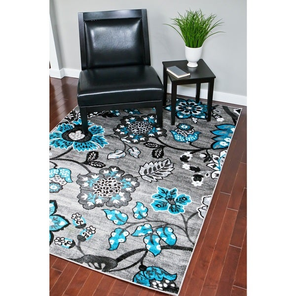 Persian Rugs Floral White Grey Turquoise Area Rug 5 2 X 7