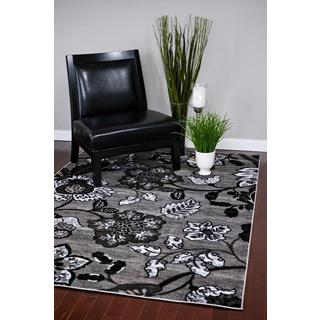 Persian Rugs Floral White, Black and Grey Area Rug (5'2 x 7'2)