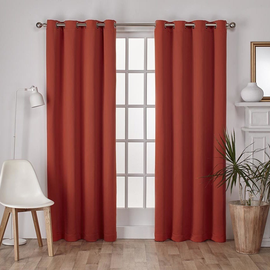 ATI Home Sateen Twill Weave Insulated Blackout Window Curtain Panel Pair