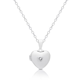 Molly and Emma Sterling Silver Cubic Zirconia Accent Heart Locket