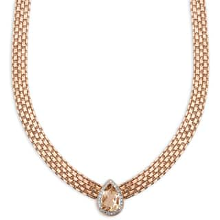 Dolce Giavonna Rose Gold Overlay Simulated Morganite and Diamond Accent Teardrop Neckace|https://ak1.ostkcdn.com/images/products/11739148/P18656856.jpg?impolicy=medium