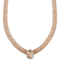 Dolce Giavonna Rose Gold Overlay Simulated Morganite and Diamond Accent Teardrop Neckace