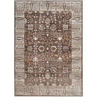 Safavieh Valencia Brown/ Beige Distressed Silky Polyester Rug (8' x 10')