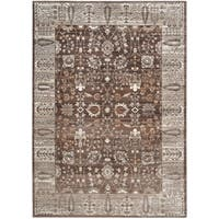 Safavieh Valencia Brown/ Beige Distressed Silky Polyester Rug - 8' x 10'