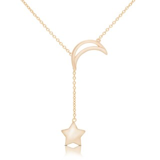 Dolce Giavonna Gold Over Silver or Sterling Silver Moon and Star Necklace