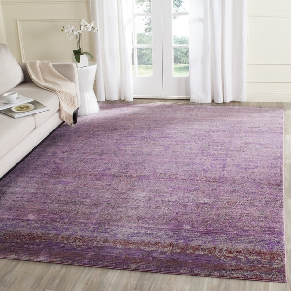 Safavieh Valencia Lavender/ Multi Overdyed Distressed Silky Polyester Rug (9' x 12')