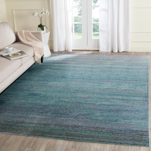 Safavieh Valencia Turquoise/ Multi Overdyed Distressed Silky Polyester Rug - 8' x 10'