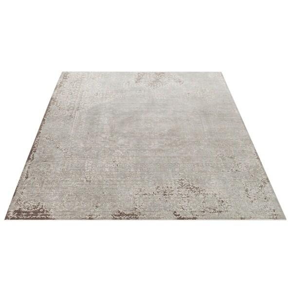 Safavieh Valencia Grey/ Multi Center Medallion Distressed Silky Polyester Rug - 9' x 12'