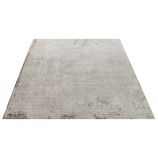 Safavieh Valencia Grey/ Multi Center Medallion Distressed Silky Polyester Rug - 9' x 12'