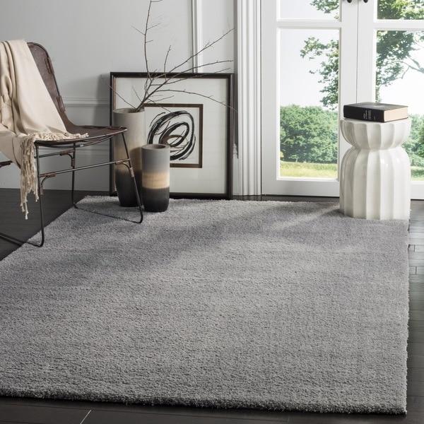 Safavieh Velvet Shag Light Grey Polyester Rug (8' x 10')