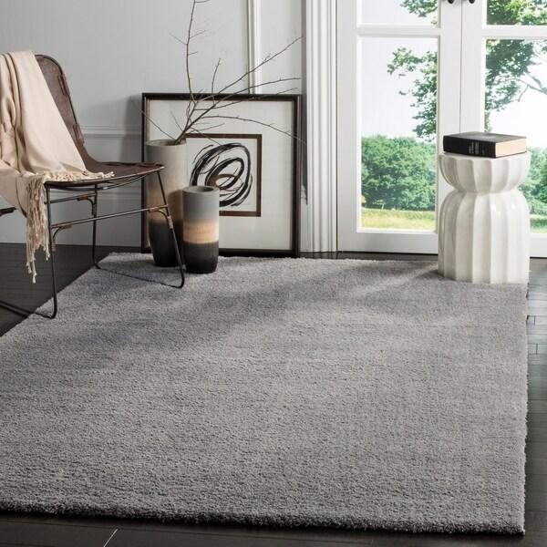 Safavieh Velvet Shag Light Grey Polyester Rug - 9' x 12'