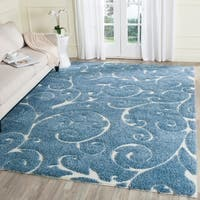 Safavieh Florida Shag Scrollwork Elegance Light Blue/ Cream Area Rug - 8'6 x 12'