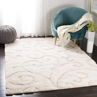 Safavieh Florida Shag Scrollwork Elegance Cream Area Rug (8' 6 x 12')
