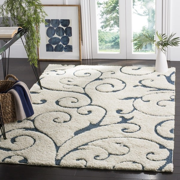 Ideal Safavieh Florida Shag Scrollwork Elegance Cream/ Blue Area Rug - 8  NV31