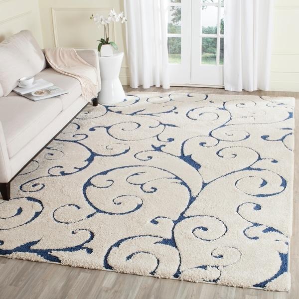 Safavieh Florida Shag Scrollwork Elegance Cream/ Blue Area Rug - 8' x 10'