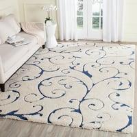 Safavieh Florida Shag Scrollwork Elegance Cream/ Blue Area Rug - 8'6 x 12'