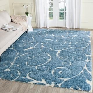 Safavieh Florida Shag Scrollwork Elegance Light Blue/ Cream Area Rug (8' x 10')