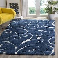 Clay Alder Home Horton Mill Shag Scrollwork Elegance Dark Blue/ Cream Area Rug (8' x 10') - 8' x 10'