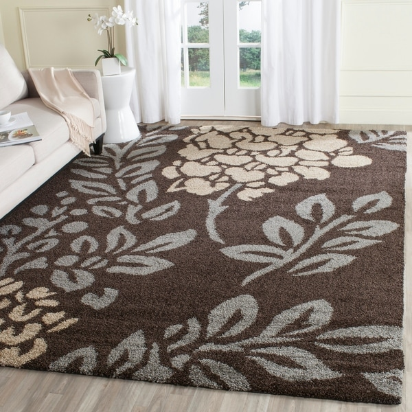 Safavieh Ultimate Shag Dark Brown/ Slate Grey Floral Area Rug - 8'6 x 12'