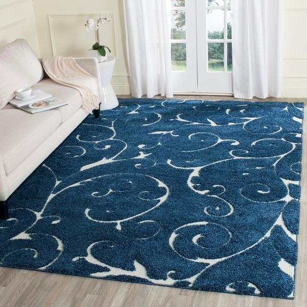 Safavieh Florida Shag Scrollwork Elegance Dark Blue/ Cream Area Rug - 8'6 x 12'