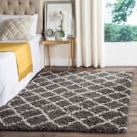 Safavieh Dallas Shag Dark Grey/ Ivory Trellis Large Area Rug - 10' x 14'
