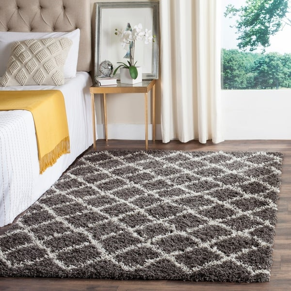 Shop Safavieh Dallas Shag Dark Grey Ivory Trellis Large