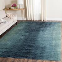 "Safavieh Vintage Watercolor Turquoise/ Multi Distressed Silky Viscose Rug - 8' x 11'2"""