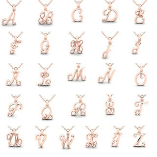 14 Karat Rose Gold Swirly Initial Necklace with 18 Inch Cable Chain (More options available)