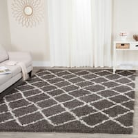 Safavieh Dallas Shag Dark Grey/ Ivory Trellis Rug (8' 6 x 12')