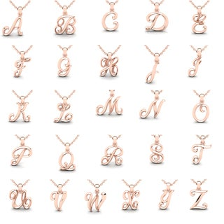 Swirly Initial Necklace In Heavy 10 Karat Rose Gold With 18 Inch Cable Chain