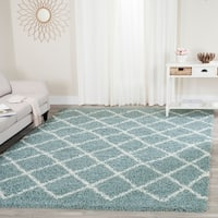 Safavieh Dallas Shag Light Blue/ Ivory Trellis Rug - 8'6 x 12'
