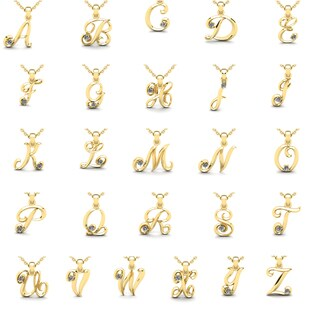 Diamond Accent Swirly Initial Necklace In 14 Karat Yellow Gold With Free 18 Inch Cable Chain, All Le