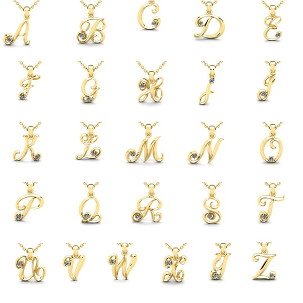 625b2be8671172 Shop 10k Yellow Gold Diamond Accent Initial Pendant - Free Shipping ...
