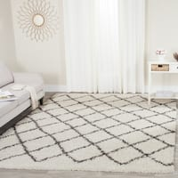 Safavieh Dallas Shag Ivory/ Dark Green Trellis Large Area Rug (10' x 14')