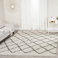 Safavieh Dallas Shag Ivory/ Dark Green Trellis Large Area Rug - 10' x 14'