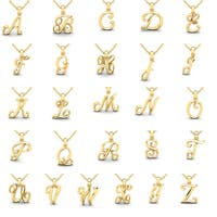 Swirly Initial Necklace In Heavy 14 Karat Yellow Gold With Free 18 Inch Cable Chain, All Letters Ava